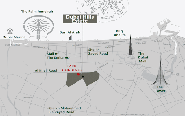 DUBAI HILLS ESTATE LOCATION MAP